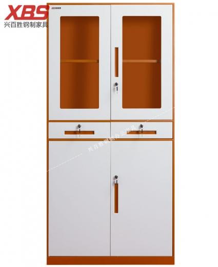 双色中二抽对开文件柜BS-012,钢制铁皮文件柜